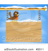 Vector Illustration of a Happy Robin Bird with Snow on a Wood Sign Against the Sky by AtStockIllustration