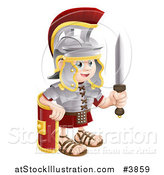 Vector Illustration of a Happy Roman Soldier Holding a Knife and Shield by AtStockIllustration