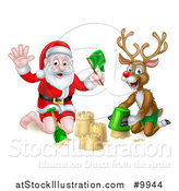 Vector Illustration of a Happy Rudolph Red Nosed Reindeer and Santa Making a Sand Castle by AtStockIllustration