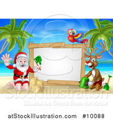 Vector Illustration of a Happy Rudolph Red Nosed Reindeer and Santa Making Sand Castles on a Tropical Beach by a Blank Sign with a Parrot by AtStockIllustration