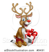 Vector Illustration of a Happy Rudolph Red Nosed Reindeer Kneeling and Holding a Gift by AtStockIllustration