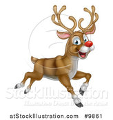 Vector Illustration of a Happy Rudolph Red Nosed Reindeer Leaping or Flying by AtStockIllustration