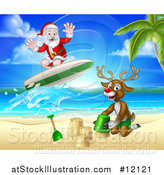 Vector Illustration of a Happy Rudolph Red Nosed Reindeer Making a Sand Castle and Santa Surfing by AtStockIllustration