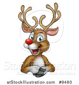 Vector Illustration of a Happy Rudolph Red Nosed Reindeer over an Edge by AtStockIllustration