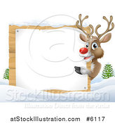 Vector Illustration of a Happy Rudolph Red Nosed Reindeer Pointing Around a Blank Sign in the Snow by AtStockIllustration