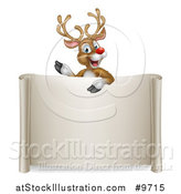 Vector Illustration of a Happy Rudolph Red Nosed Reindeer Waving over a Blank Scroll Sign by AtStockIllustration