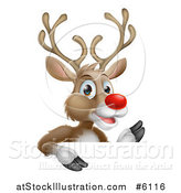 Vector Illustration of a Happy Rudolph Red Nosed Reindeer Waving over a Sign by AtStockIllustration