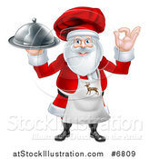 Vector Illustration of a Happy Santa Claus Chef Gesturing Ok and Holding a Food Cloche Platter by AtStockIllustration