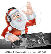 Vector Illustration of a Happy Santa Claus Dj Mixing Christmas Music on a Turntable by AtStockIllustration