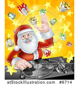 Vector Illustration of a Happy Santa Claus Dj Mixing Christmas Music on a Turntable over a Starburst and Gifts by AtStockIllustration