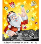 Vector Illustration of a Happy Santa Claus Dj Wearing Headphones and Mixing Christmas Music on a Turntable over a Starburst and Gifts by AtStockIllustration
