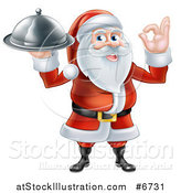 Vector Illustration of a Happy Santa Claus Gesturing Ok and Holding a Food Cloche Platter by AtStockIllustration