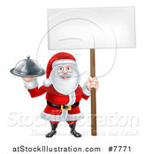 Vector Illustration of a Happy Santa Claus Holding a Silver Cloche Platter and Blank Sign by AtStockIllustration