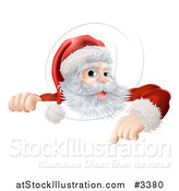 Vector Illustration of a Happy Santa Claus Pointing down at a Christmas Sign by AtStockIllustration