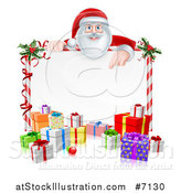 Vector Illustration of a Happy Santa Claus Pointing down over a Blank Candy Cane Framed Sign with Christmas Gifts and Holly by AtStockIllustration