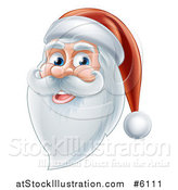 Vector Illustration of a Happy Santa Face with a Beard by AtStockIllustration