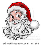 Vector Illustration of a Happy Santa Face with a Hat and Beard by AtStockIllustration