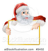 Vector Illustration of a Happy Santa Holding and Pointing down at a Sign by AtStockIllustration