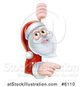 Vector Illustration of a Happy Santa Pointing and Looking Around a Sign by AtStockIllustration
