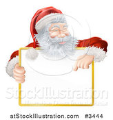 Vector Illustration of a Happy Santa Smiling Holding and Pointing down at a Sign by AtStockIllustration