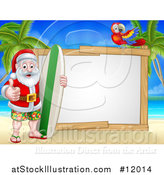Vector Illustration of a Happy Santa Surfer on a Tropical Beach by a Blank Sign with a Parrot by AtStockIllustration