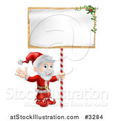 Vector Illustration of a Happy Santa Waving and Holding a Sign by AtStockIllustration