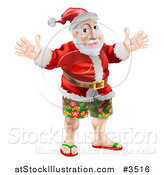 Vector Illustration of a Happy Santa Wearing Bermuda Shorts and Sandals by AtStockIllustration