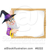 Vector Illustration of a Happy Senior Wizard Pointing Around a Posted Notice Sign on Wood by AtStockIllustration