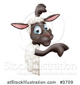 Vector Illustration of a Happy Sheep Pointing to a Sign by AtStockIllustration