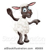 Vector Illustration of a Happy Sheep Standing and Waving and Pointing by AtStockIllustration