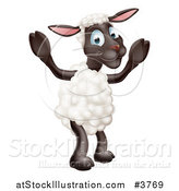 Vector Illustration of a Happy Sheep Standing by AtStockIllustration