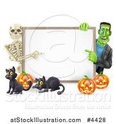 Vector Illustration of a Happy Skeleton and Frankenstein Pointing to a White Board Sign over Pumpkins and Black Cats by AtStockIllustration