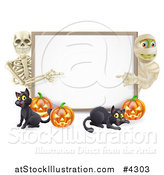 Vector Illustration of a Happy Skeleton Mummy Pumpkins and Black Cat Around a Blank Sign by AtStockIllustration