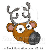 Vector Illustration of a Happy Sketched Reindeer Face by AtStockIllustration