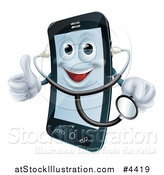Vector Illustration of a Happy Smart Phone Wearing a Stethoscope and Holding a Thumb up by AtStockIllustration
