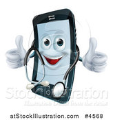 Vector Illustration of a Happy Smart Phone Wearing a Stethoscope and Holding Two Thumbs up by AtStockIllustration