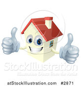 Vector Illustration of a Happy Smiling House Mascot Holding Two Thumbs up by AtStockIllustration