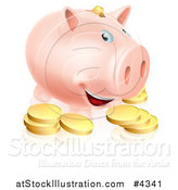 Vector Illustration of a Happy Smiling Piggy Bank with Golden Coins by AtStockIllustration