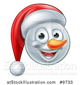 Vector Illustration of a Happy Snowman Face Wearing a Christmas Santa Hat by AtStockIllustration