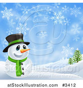 Vector Illustration of a Happy Snowman in a Scarf and Top Hat in a Winter Landscape by AtStockIllustration