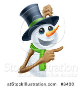 Vector Illustration of a Happy Snowman in a Top Hat and Green Scarf Pointing to a Sign by AtStockIllustration