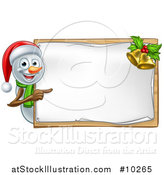 Vector Illustration of a Happy Snowman Wearing a Christmas Santa Hat and Pointing Around a Blank Sign by AtStockIllustration