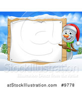 Vector Illustration of a Happy Snowman Wearing a Christmas Santa Hat and Pointing Around a Blank Sign in a Winter Landscape by AtStockIllustration