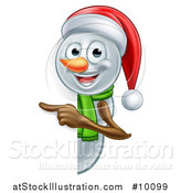 Vector Illustration of a Happy Snowman Wearing a Christmas Santa Hat and Pointing Around a Sign by AtStockIllustration