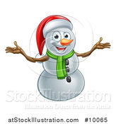 Vector Illustration of a Happy Snowman Wearing a Christmas Santa Hat and Welcoming by AtStockIllustration