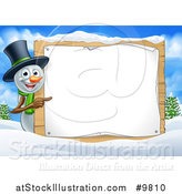 Vector Illustration of a Happy Snowman Wearing a Christmas Top Hat and Pointing Around a Blank Sign in a Winter Landscape by AtStockIllustration