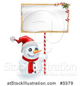 Vector Illustration of a Happy Snowman Wearing a Santa Hat and Holding a Christmas Sign by AtStockIllustration