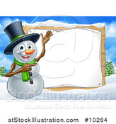 Vector Illustration of a Happy Snowman Wearing a Top Hat and Presenting a Blank Sign in a Winter Landscape by AtStockIllustration
