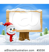 Vector Illustration of a Happy Snowman with a Santa Hat and Sign on a Stump by AtStockIllustration