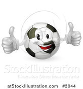 Vector Illustration of a Happy Soccer Ball Mascot Holding Two Thumbs up by AtStockIllustration
